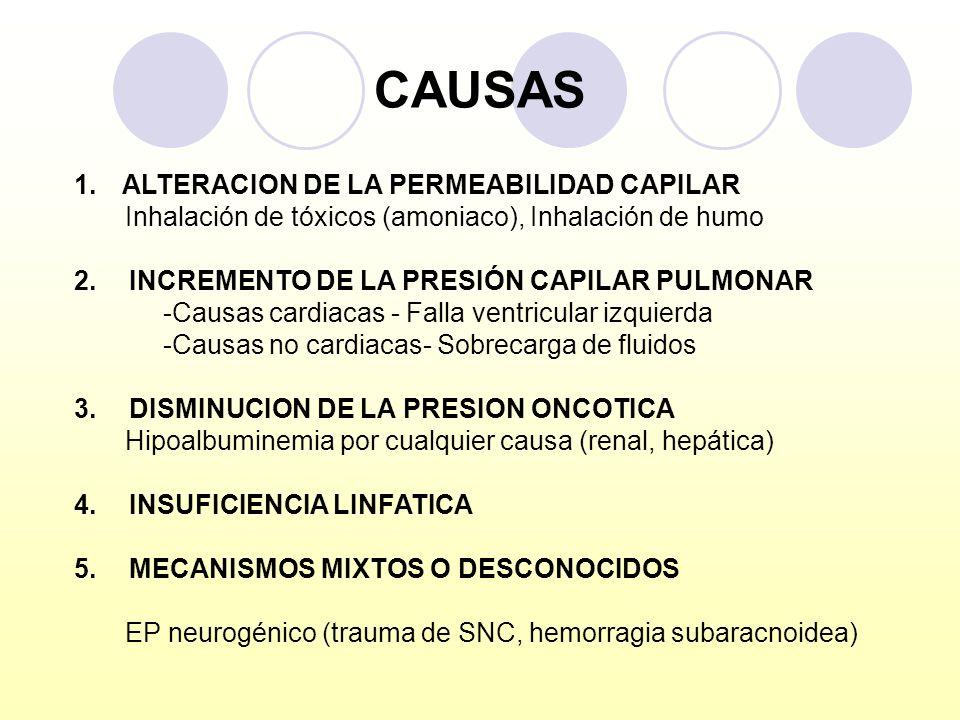CAUSAS 1.ALTERACION DE LA PERMEABILIDAD CAPILAR Inhalación de tóxicos (amoniaco), Inhalación de humo 2. INCREMENTO DE LA PRESIÓN CAPILAR PULMONAR -Cau