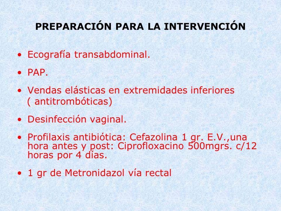 PREPARACIÓN PARA LA INTERVENCIÓN Ecografía transabdominal. PAP. Vendas elásticas en extremidades inferiores ( antitrombóticas) Desinfección vaginal. P