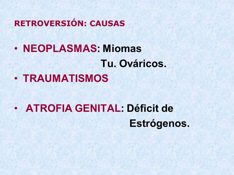 RETROVERSIÓN: CAUSAS NEOPLASMAS: Miomas Tu. Ováricos. TRAUMATISMOS ATROFIA GENITAL: Déficit de Estrógenos.