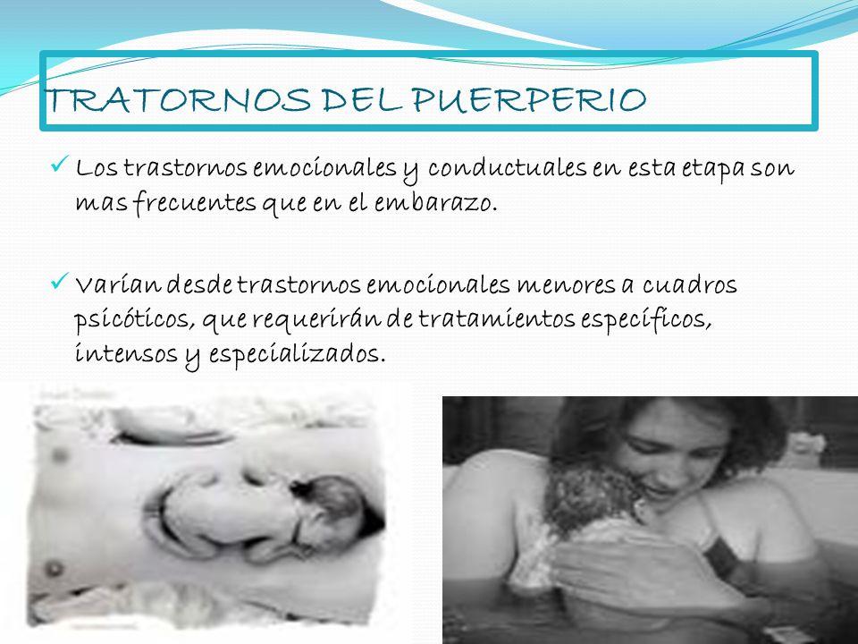 TRATORNOS DEL PUERPERIO Los trastornos emocionales y conductuales en esta etapa son mas frecuentes que en el embarazo. Varían desde trastornos emocion
