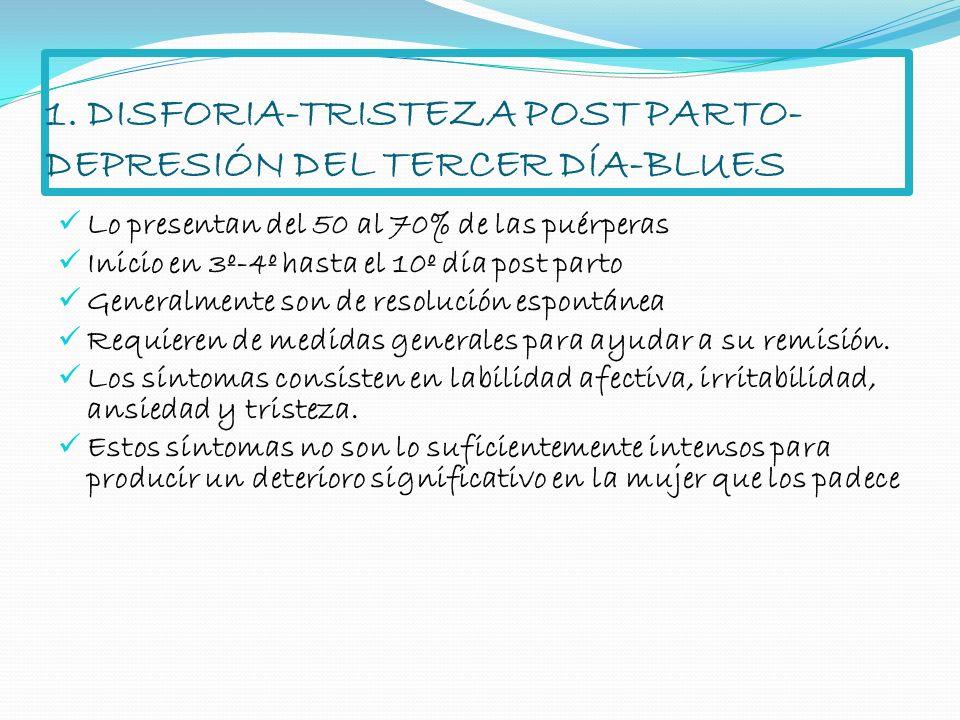 1. DISFORIA-TRISTEZA POST PARTO- DEPRESIÓN DEL TERCER DÍA-BLUES Lo presentan del 50 al 70% de las puérperas Inicio en 3º-4º hasta el 10º día post part