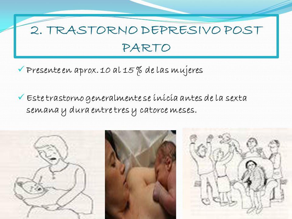 2. TRASTORNO DEPRESIVO POST PARTO Presente en aprox. 10 al 15 % de las mujeres Este trastorno generalmente se inicia antes de la sexta semana y dura e