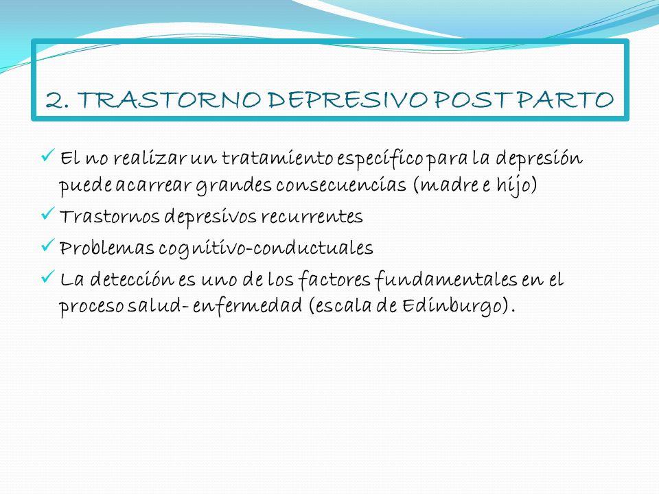 El no realizar un tratamiento específico para la depresión puede acarrear grandes consecuencias (madre e hijo) Trastornos depresivos recurrentes Probl
