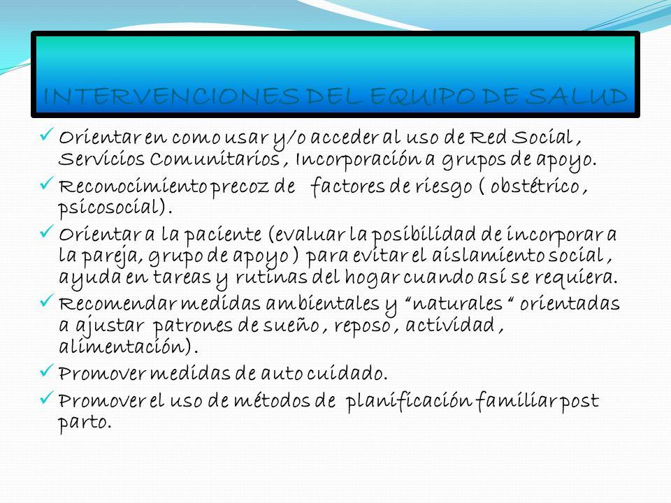 INTERVENCIONES DEL EQUIPO DE SALUD Orientar en como usar y/o acceder al uso de Red Social, Servicios Comunitarios, Incorporación a grupos de apoyo. Re