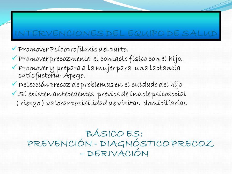 INTERVENCIONES DEL EQUIPO DE SALUD Promover Psicoprofilaxis del parto. Promover precozmente el contacto físico con el hijo. Promover y prepara a la mu