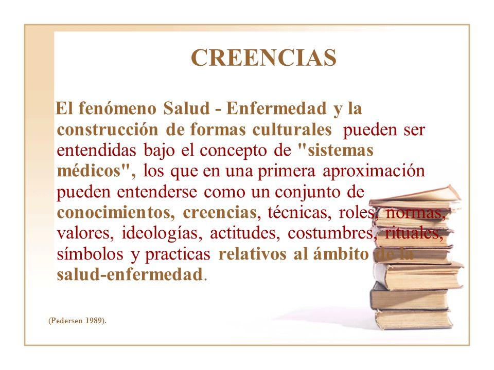 CREENCIAS El fenómeno Salud - Enfermedad y la construcción de formas culturales pueden ser entendidas bajo el concepto de