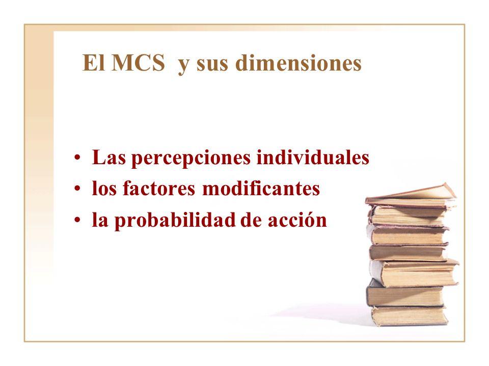 El MCS y sus dimensiones Las percepciones individuales los factores modificantes la probabilidad de acción