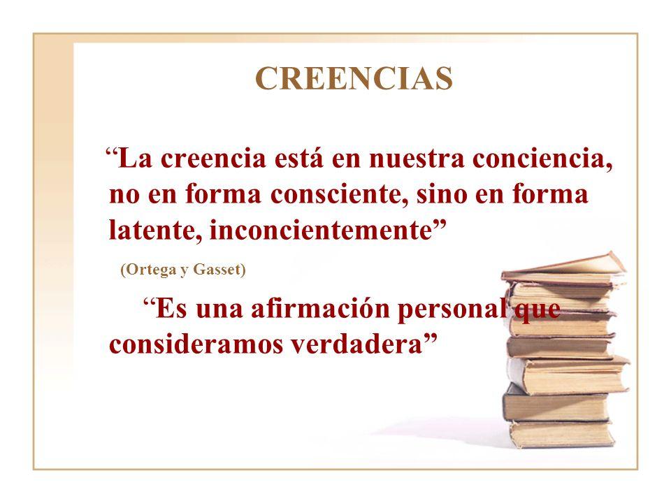 CREENCIAS La creencia está en nuestra conciencia, no en forma consciente, sino en forma latente, inconcientemente (Ortega y Gasset) Es una afirmación