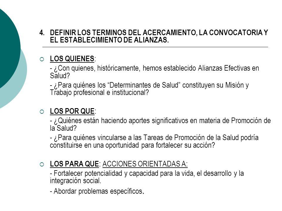 4.DEFINIR LOS TERMINOS DEL ACERCAMIENTO, LA CONVOCATORIA Y EL ESTABLECIMIENTO DE ALIANZAS.