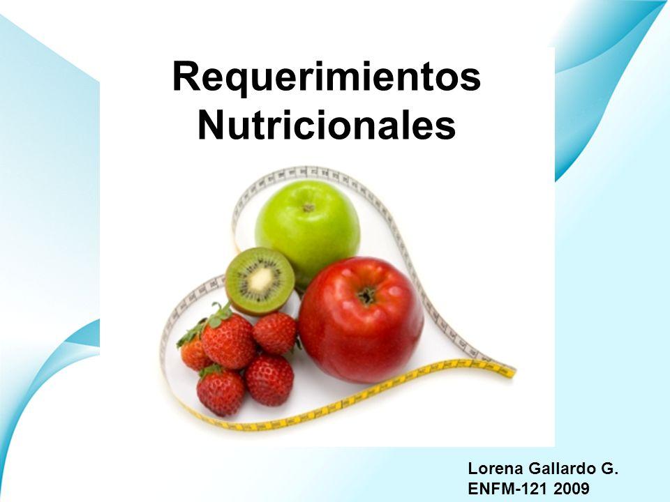 Page 1 Lorena Gallardo G. ENFM-121 2009 Requerimientos Nutricionales