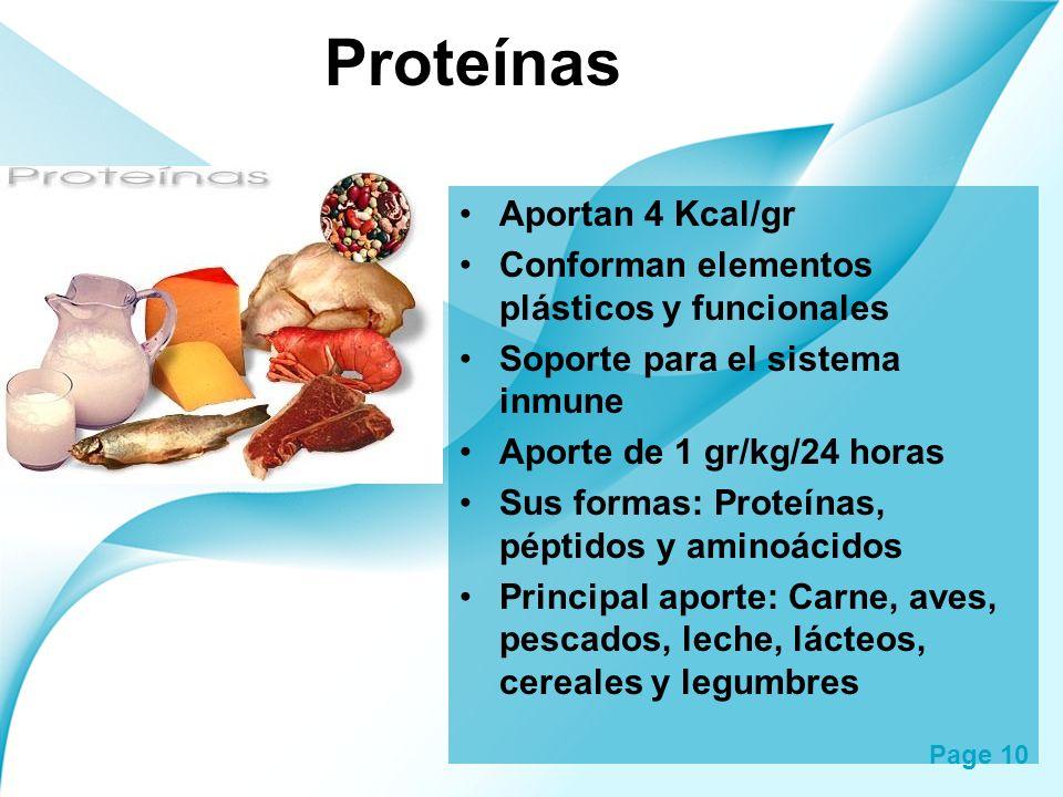 Page 10 Proteínas Aportan 4 Kcal/gr Conforman elementos plásticos y funcionales Soporte para el sistema inmune Aporte de 1 gr/kg/24 horas Sus formas: