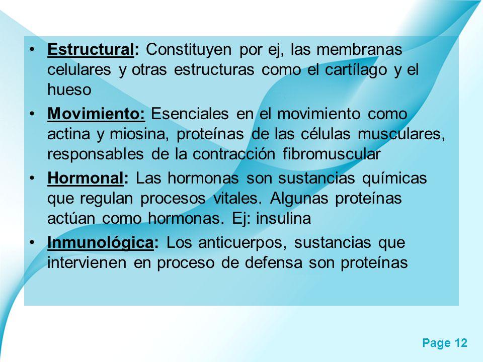 Page 12 Estructural: Constituyen por ej, las membranas celulares y otras estructuras como el cartílago y el hueso Movimiento: Esenciales en el movimie