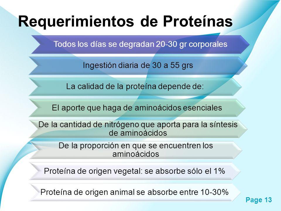 Page 13 Requerimientos de Proteínas Todos los días se degradan 20-30 gr corporales Ingestión diaria de 30 a 55 grs La calidad de la proteína depende d
