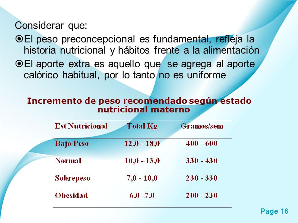 Page 16 Considerar que: El peso preconcepcional es fundamental, refleja la historia nutricional y hábitos frente a la alimentación El aporte extra es