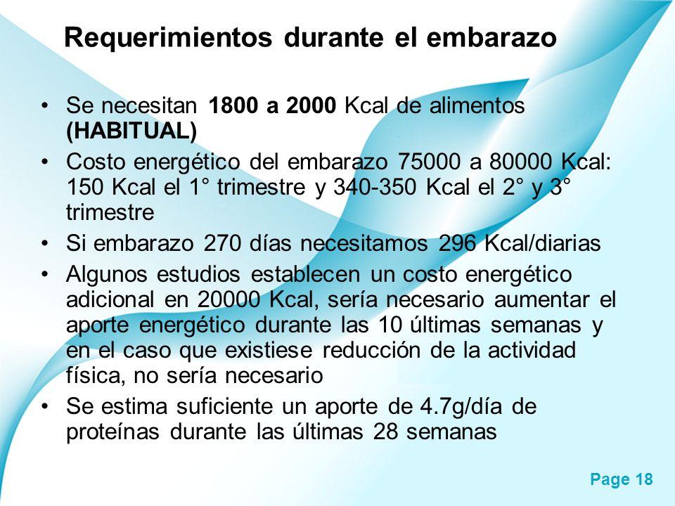 Page 18 Requerimientos durante el embarazo Se necesitan 1800 a 2000 Kcal de alimentos (HABITUAL) Costo energético del embarazo 75000 a 80000 Kcal: 150