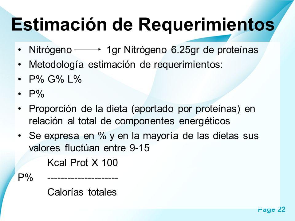 Page 22 Estimación de Requerimientos Nitrógeno 1gr Nitrógeno 6.25gr de proteínas Metodología estimación de requerimientos: P% G% L% P% Proporción de l