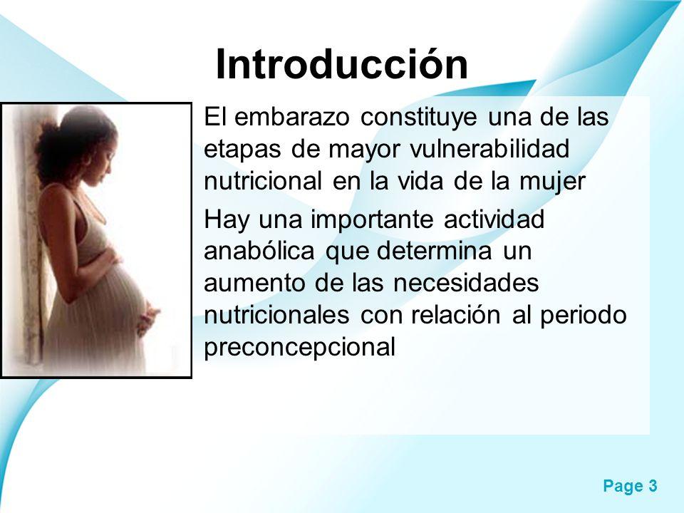 Page 3 Introducción El embarazo constituye una de las etapas de mayor vulnerabilidad nutricional en la vida de la mujer Hay una importante actividad a
