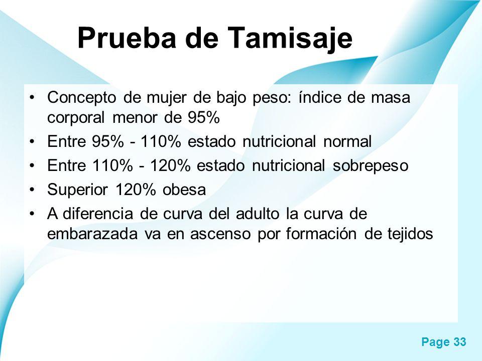 Page 33 Prueba de Tamisaje Concepto de mujer de bajo peso: índice de masa corporal menor de 95% Entre 95% - 110% estado nutricional normal Entre 110%