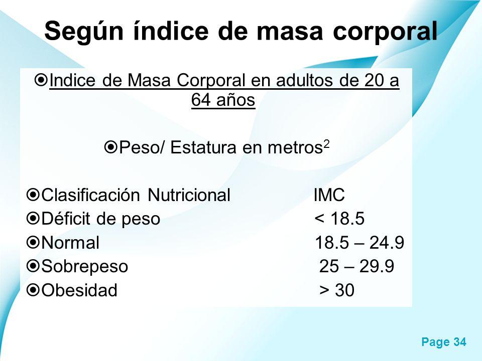 Page 34 Según índice de masa corporal Indice de Masa Corporal en adultos de 20 a 64 años Peso/ Estatura en metros 2 Clasificación Nutricional IMC Défi