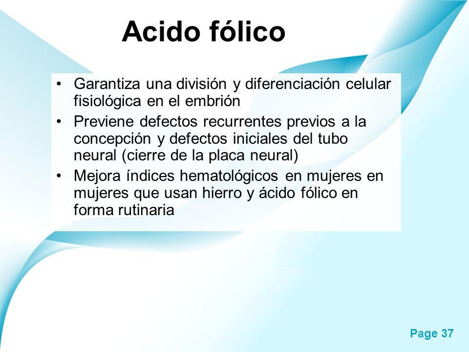 Page 37 Acido fólico Garantiza una división y diferenciación celular fisiológica en el embrión Previene defectos recurrentes previos a la concepción y