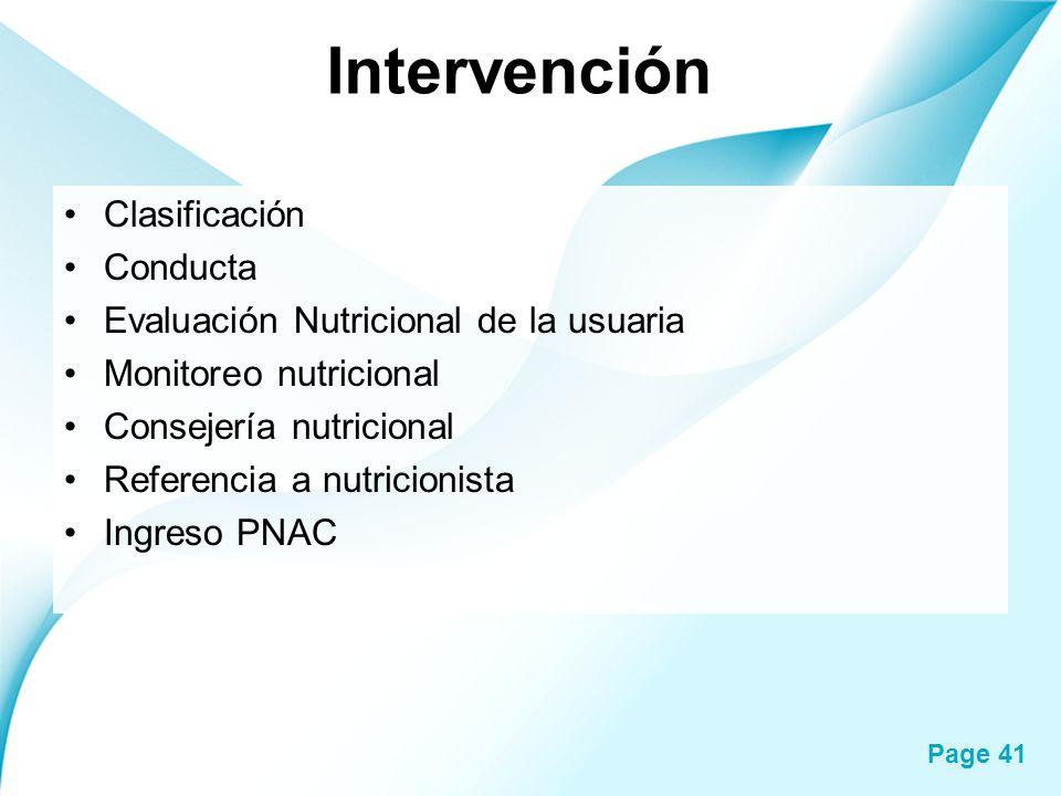 Page 41 Intervención Clasificación Conducta Evaluación Nutricional de la usuaria Monitoreo nutricional Consejería nutricional Referencia a nutricionis
