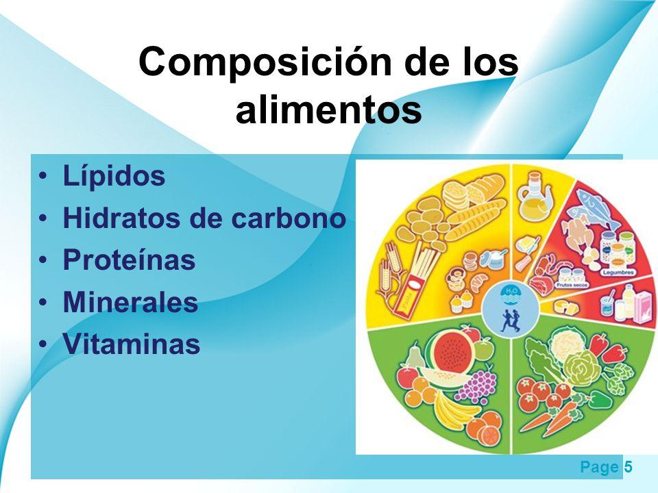 Page 5 Composición de los alimentos Lípidos Hidratos de carbono Proteínas Minerales Vitaminas