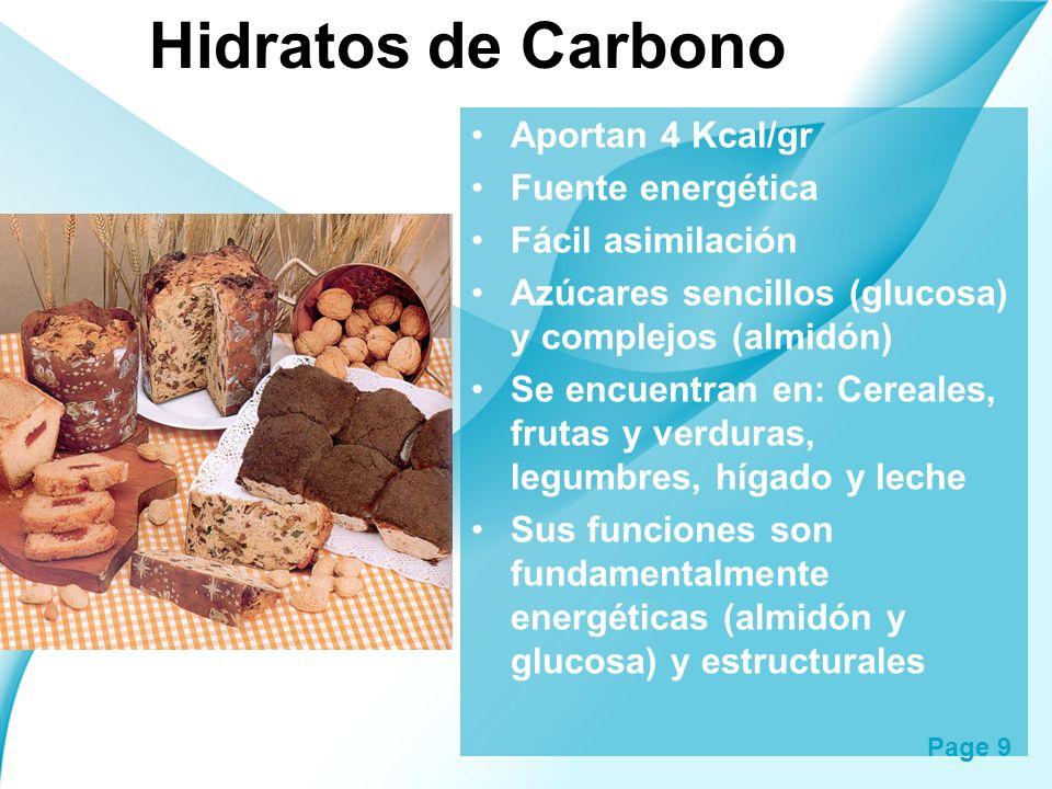 Page 9 Hidratos de Carbono Aportan 4 Kcal/gr Fuente energética Fácil asimilación Azúcares sencillos (glucosa) y complejos (almidón) Se encuentran en: