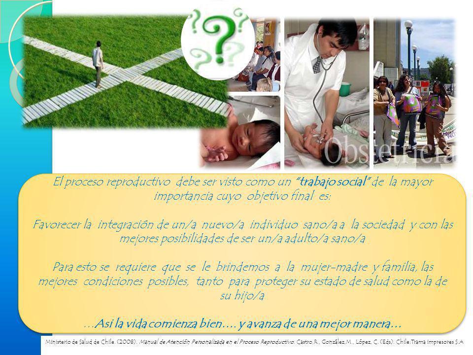ATENCIÓN PERSONALIZADA DEL PUERPERIO Es la atención integral y de calidad a la tríada: madre, hijo/a, padre, incorporando, tanto los elementos de atención de salud, como la entrega de información y educación en el autocuidado y herramientas para la crianza Ministerio de Salud de Chile.