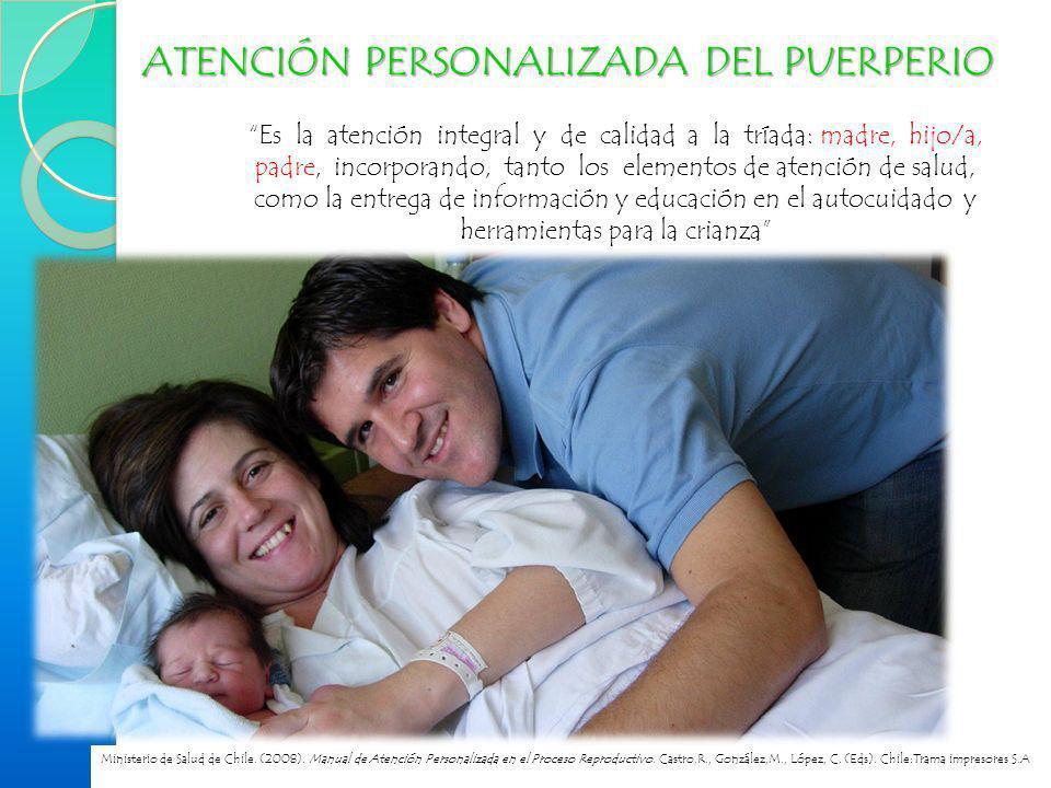 ATENCIÓN PERSONALIZADA DEL PUERPERIO Es la atención integral y de calidad a la tríada: madre, hijo/a, padre, incorporando, tanto los elementos de aten