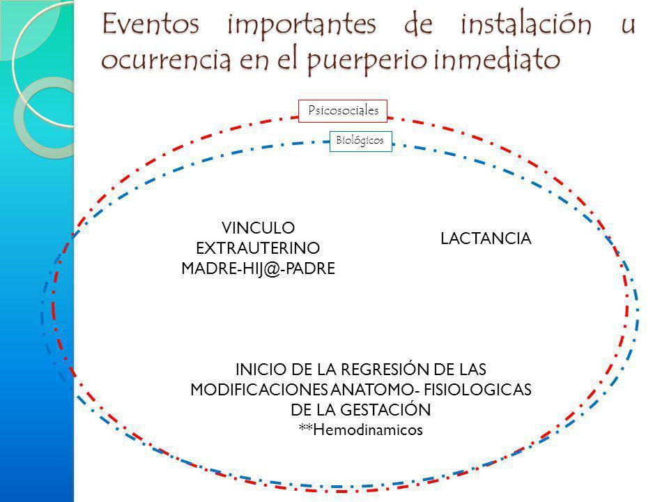 Eventos importantes de instalación u ocurrencia en el puerperio inmediato LACTANCIA VINCULO EXTRAUTERINO MADRE-HIJ@-PADRE INICIO DE LA REGRESIÓN DE LA