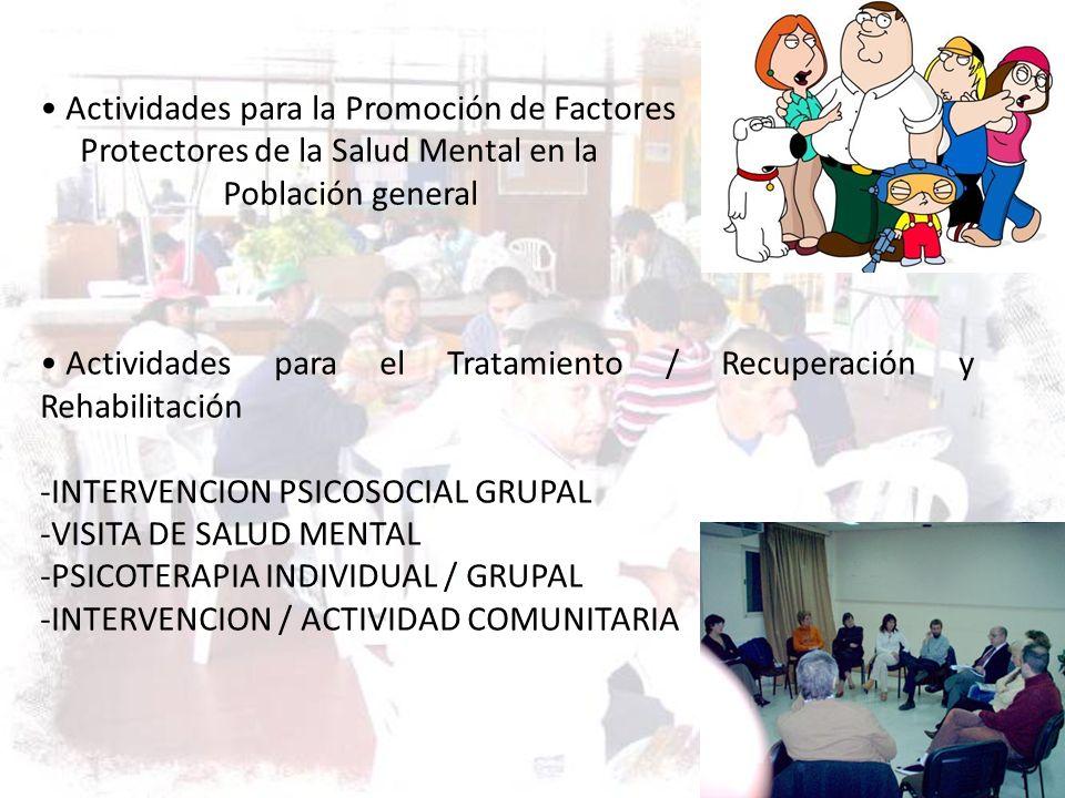 Actividades para la Promoción de Factores Protectores de la Salud Mental en la Población general Actividades para el Tratamiento / Recuperación y Reha