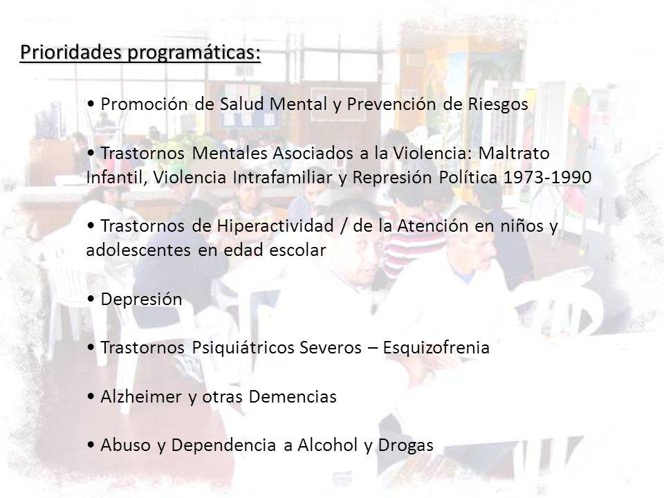 Prioridades programáticas: Promoción de Salud Mental y Prevención de Riesgos Trastornos Mentales Asociados a la Violencia: Maltrato Infantil, Violenci