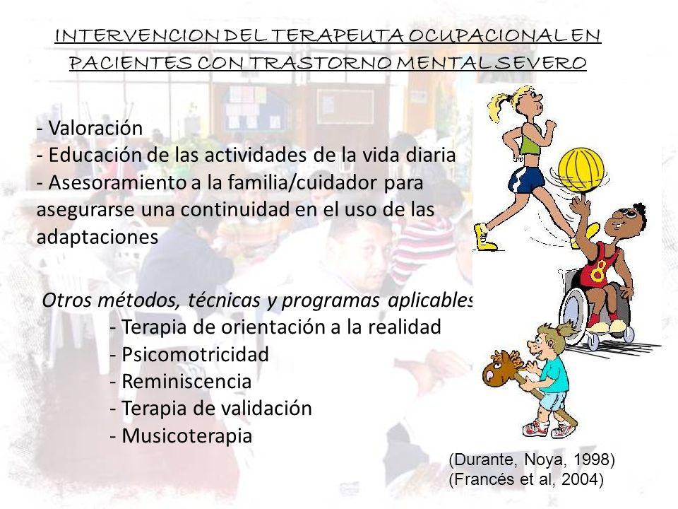 INTERVENCION DEL TERAPEUTA OCUPACIONAL EN PACIENTES CON TRASTORNO MENTAL SEVERO - Valoración - Educación de las actividades de la vida diaria - Asesor