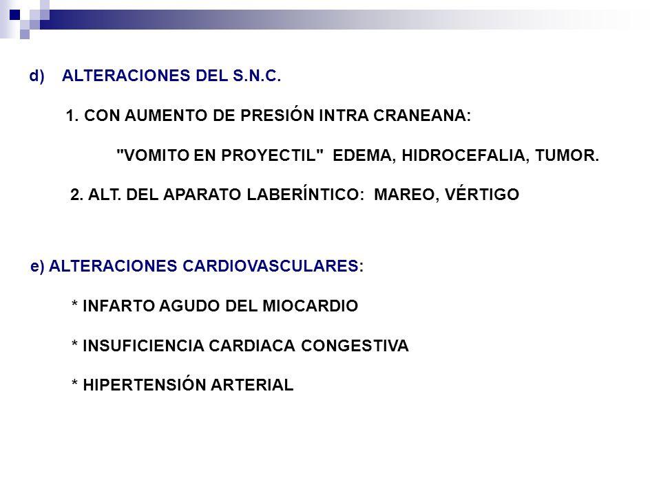 f) ALTERACIONES ENDOCRINAS: * DIABETES MELLITUS: ACIDOSIS DIABÉTICA * INSUFICIENCIA ADRENAL * GESTACIÓN g) TOXINAS Y MEDICAMENTOS: ANTINEOPLASICOS