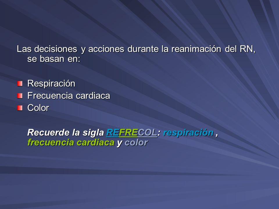 Las decisiones y acciones durante la reanimación del RN, se basan en: Respiración Frecuencia cardiaca Color Recuerde la sigla REFRECOL: respiración, f