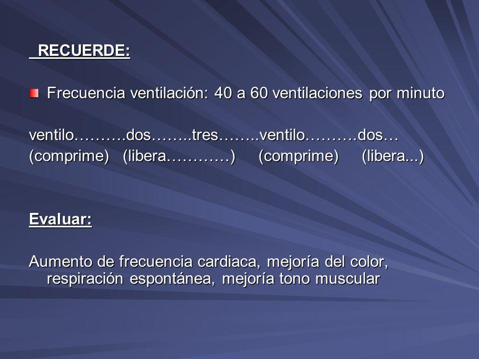 RECUERDE: RECUERDE: Frecuencia ventilación: 40 a 60 ventilaciones por minuto ventilo……….dos……..tres……..ventilo……….dos… (comprime) (libera…………) (compri
