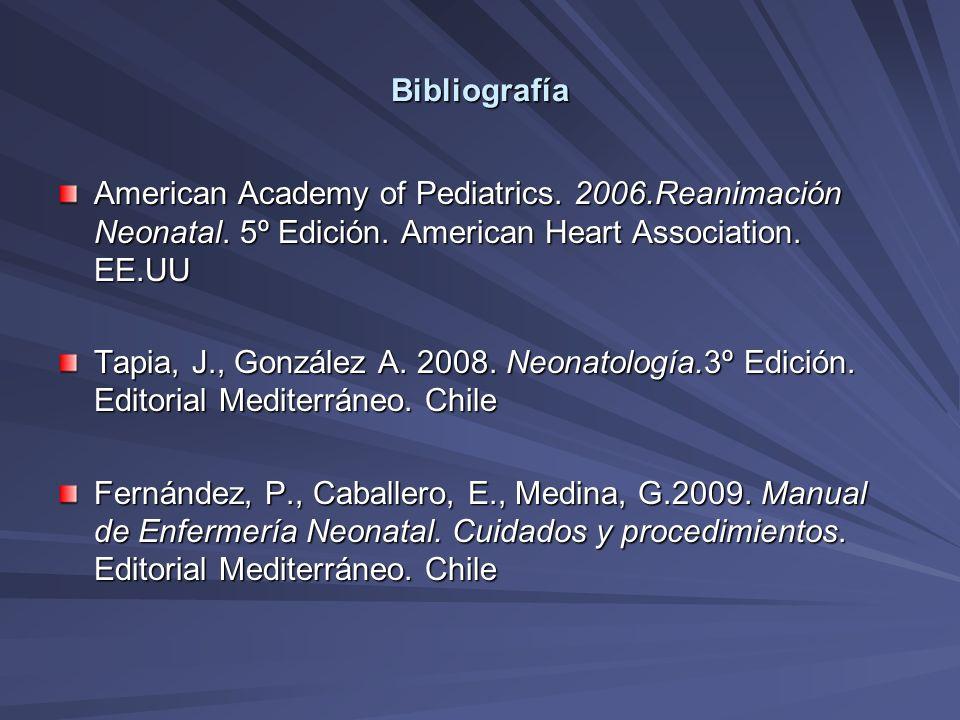 Bibliografía American Academy of Pediatrics. 2006.Reanimación Neonatal. 5º Edición. American Heart Association. EE.UU Tapia, J., González A. 2008. Neo
