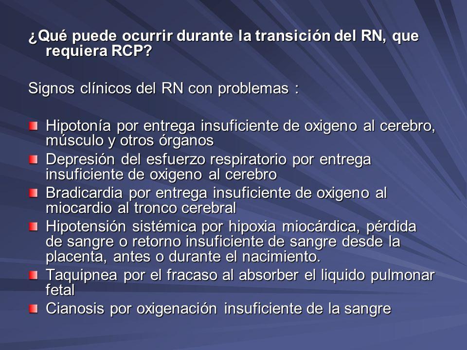 ¿Qué puede ocurrir durante la transición del RN, que requiera RCP? Signos clínicos del RN con problemas : Hipotonía por entrega insuficiente de oxigen