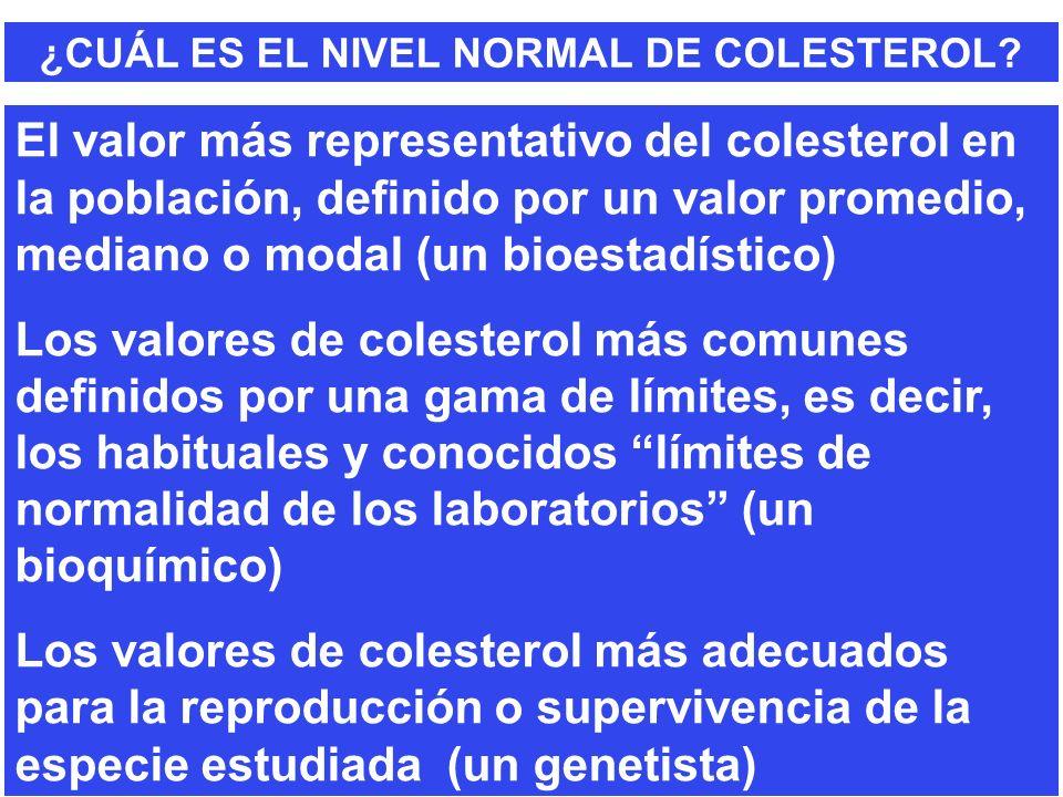 ¿CUÁL ES EL NIVEL NORMAL DE COLESTEROL? El valor más representativo del colesterol en la población, definido por un valor promedio, mediano o modal (u