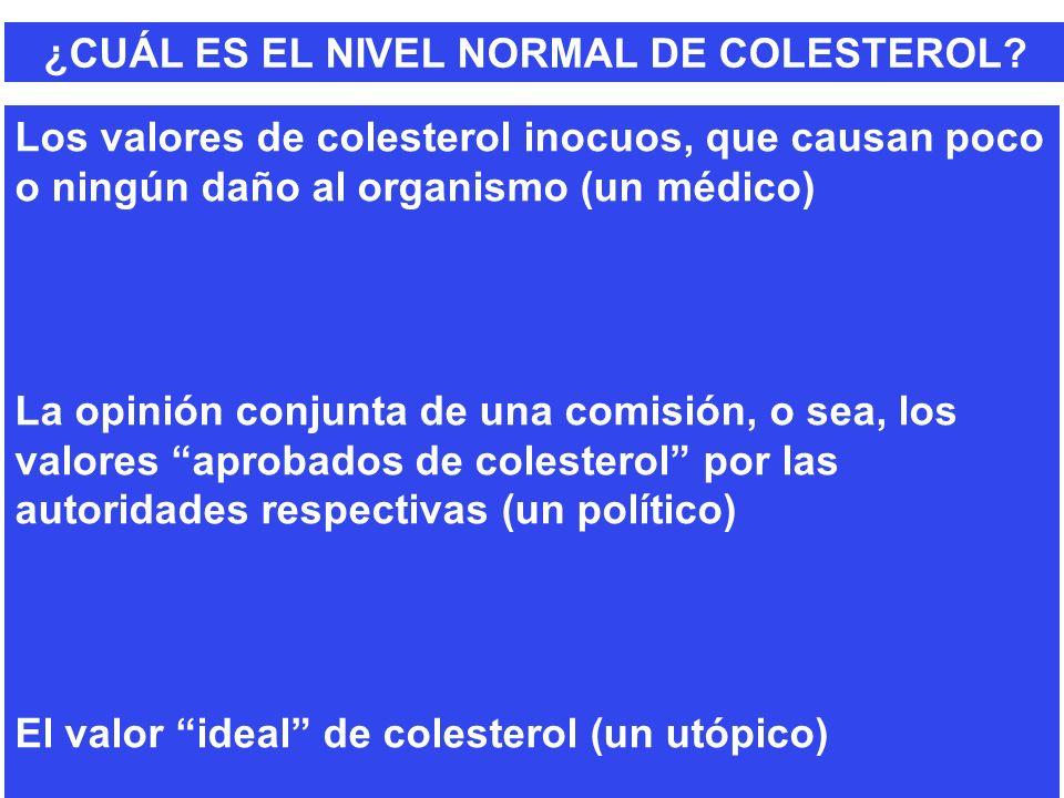 ¿CUÁL ES EL NIVEL NORMAL DE COLESTEROL? Los valores de colesterol inocuos, que causan poco o ningún daño al organismo (un médico) La opinión conjunta