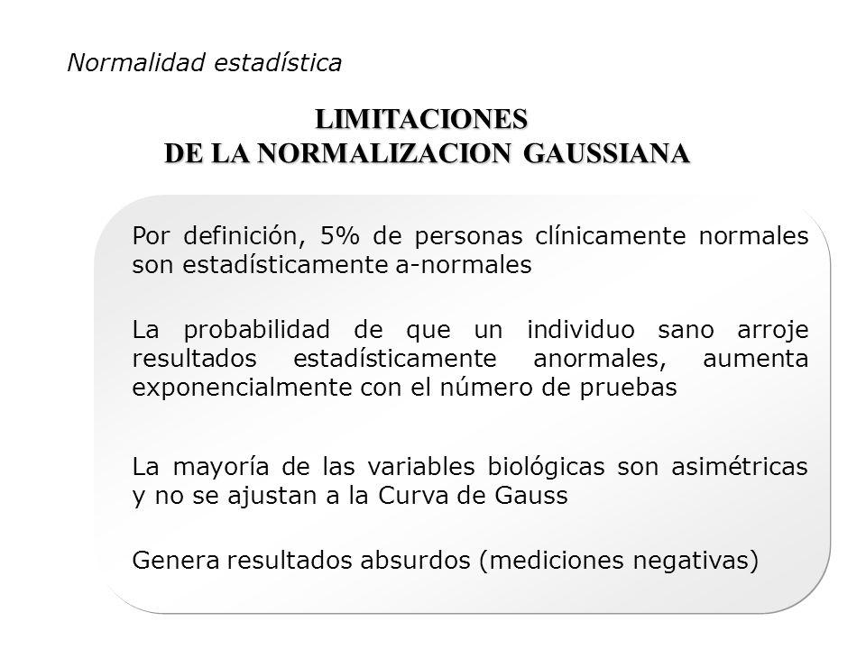 Normalidad estadística LIMITACIONES DE LA NORMALIZACION GAUSSIANA Por definición, 5% de personas clínicamente normales son estadísticamente a-normales