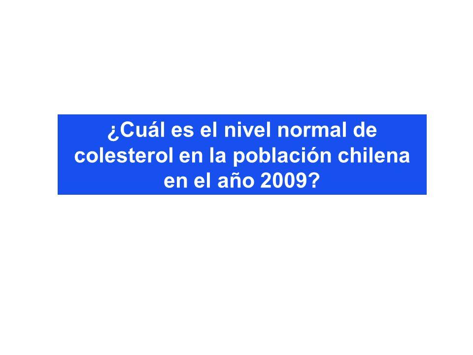¿Cuál es el nivel normal de colesterol en la población chilena en el año 2009?