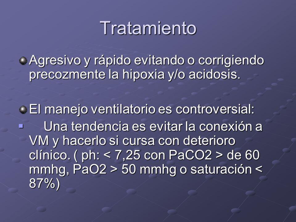 Tratamiento Agresivo y rápido evitando o corrigiendo precozmente la hipoxia y/o acidosis. El manejo ventilatorio es controversial: Una tendencia es ev
