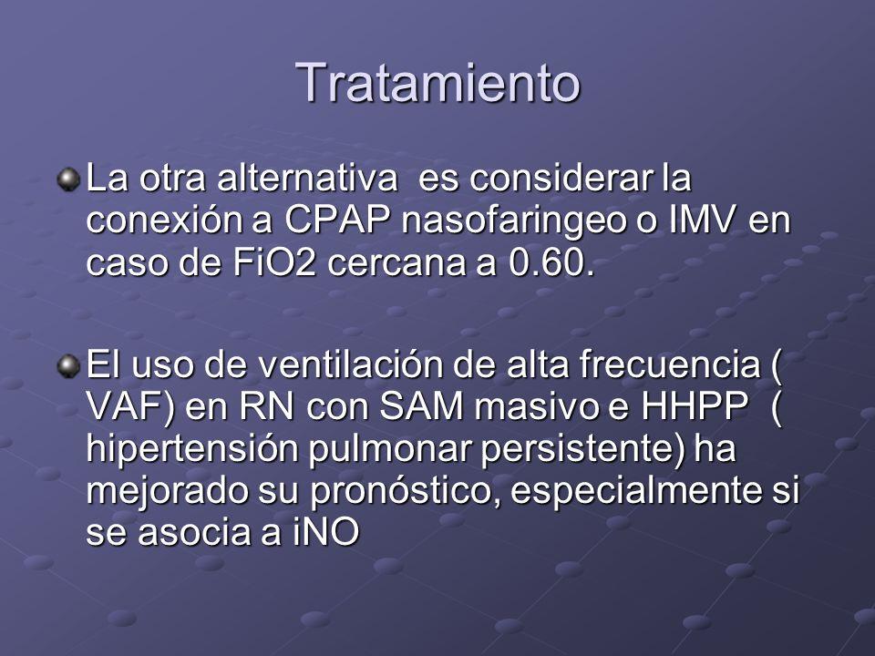 Tratamiento La otra alternativa es considerar la conexión a CPAP nasofaringeo o IMV en caso de FiO2 cercana a 0.60. El uso de ventilación de alta frec