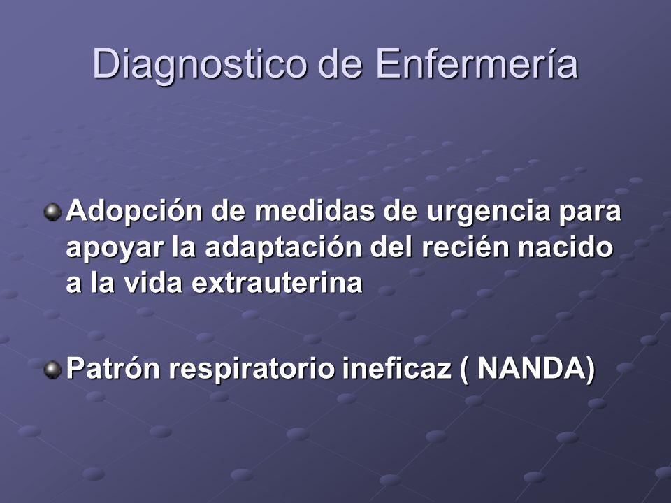 Diagnostico de Enfermería Adopción de medidas de urgencia para apoyar la adaptación del recién nacido a la vida extrauterina Patrón respiratorio inefi