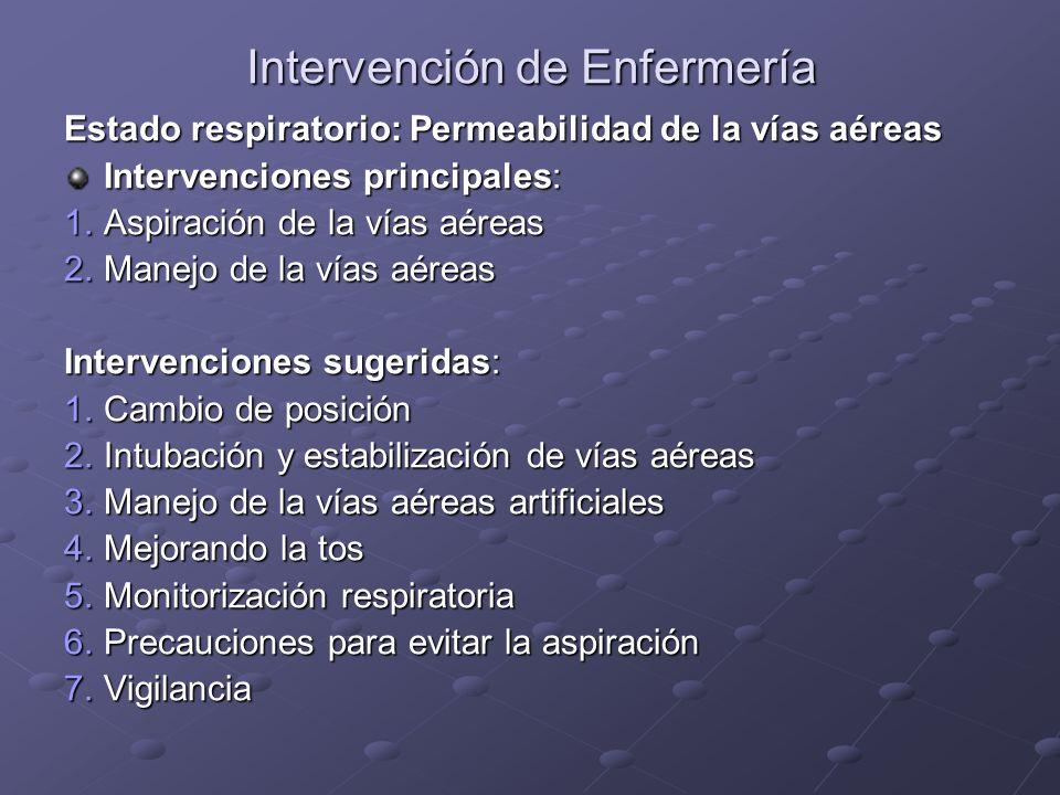 Intervención de Enfermería Estado respiratorio: Permeabilidad de la vías aéreas Intervenciones principales: 1.Aspiración de la vías aéreas 2.Manejo de