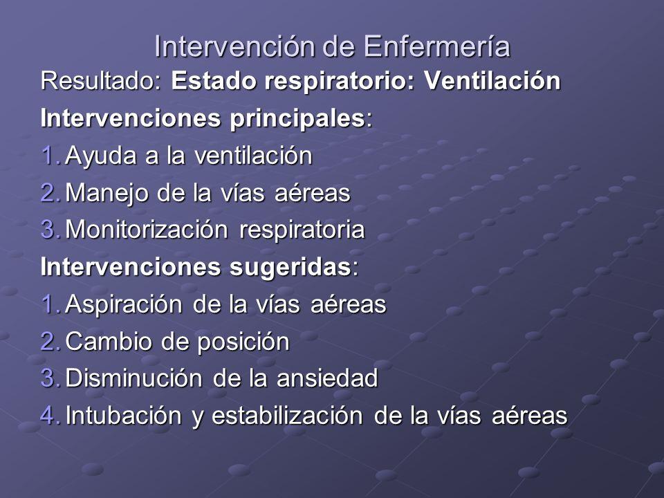 Intervención de Enfermería Resultado: Estado respiratorio: Ventilación Intervenciones principales: 1.Ayuda a la ventilación 2.Manejo de la vías aéreas