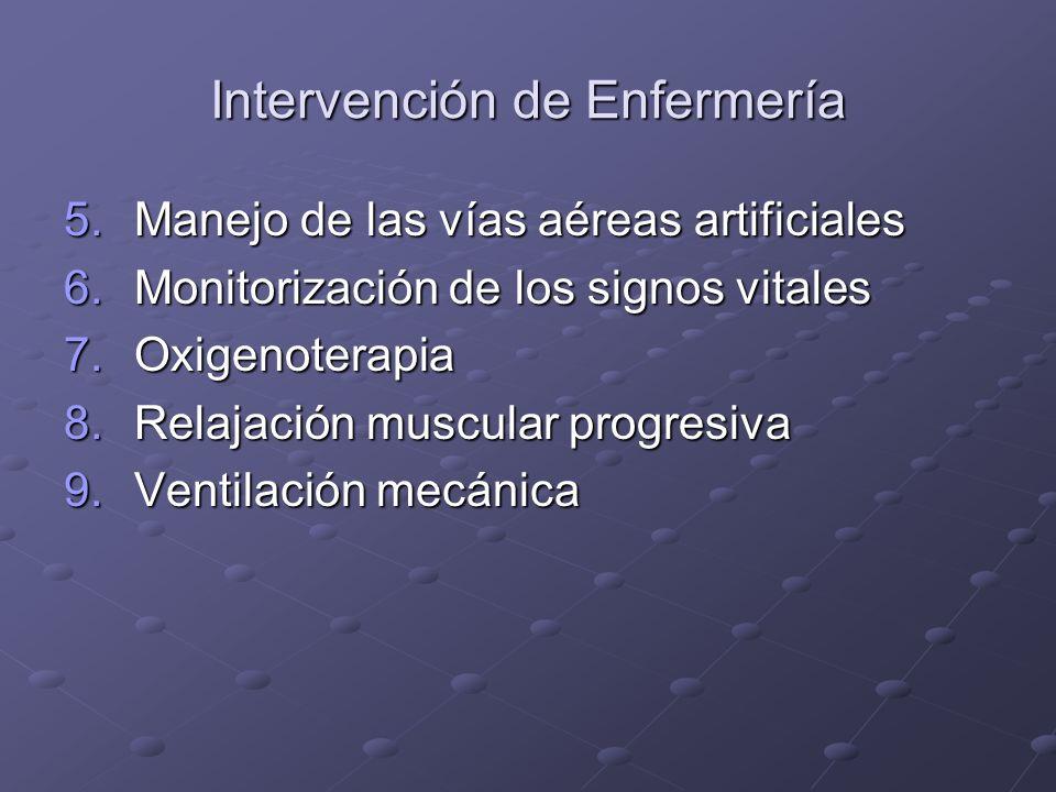 Intervención de Enfermería 5.Manejo de las vías aéreas artificiales 6.Monitorización de los signos vitales 7.Oxigenoterapia 8.Relajación muscular prog