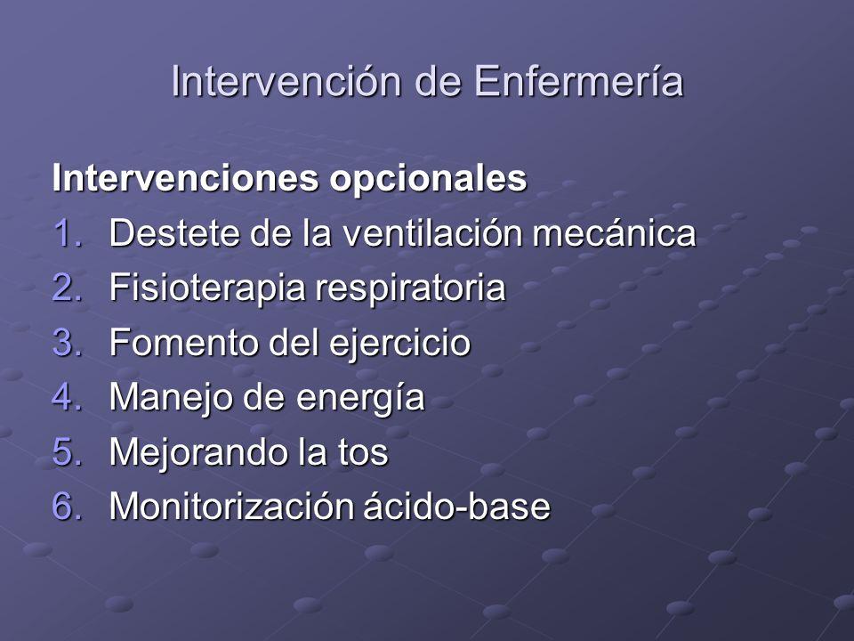 Intervención de Enfermería Intervenciones opcionales 1.Destete de la ventilación mecánica 2.Fisioterapia respiratoria 3.Fomento del ejercicio 4.Manejo