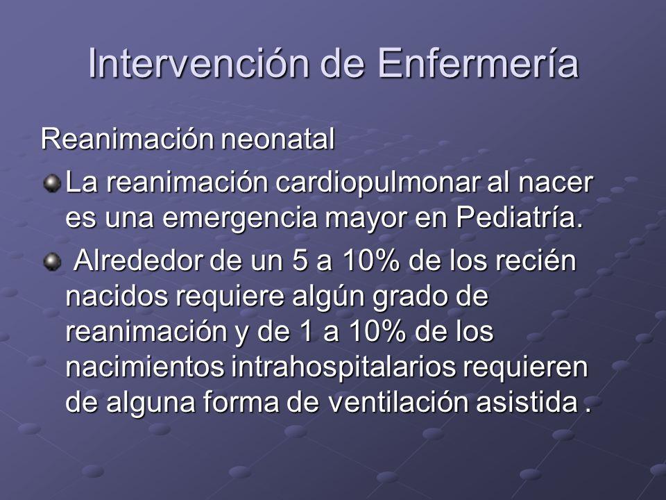 Intervención de Enfermería Reanimación neonatal La reanimación cardiopulmonar al nacer es una emergencia mayor en Pediatría. Alrededor de un 5 a 10% d